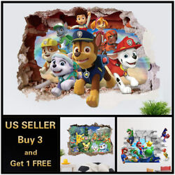 US 3D Wall stickers Pokemon Mario Kids Cartoon Room Decal Wallpaper Removable