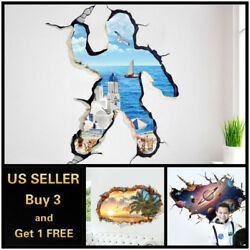 US 3D Wall stickers Beach Sea Sky Universe Love Room Decal Wallpaper Removable