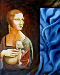 Original Oil Painting On Canvas 32x26 Contemporary Art Surreal With Urban