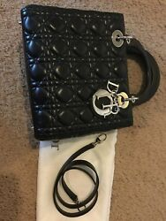 ultimate classic Lady Dior medium black lambskin bag with strap excellent