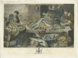Antique Master Print Of A Fish Market By Earlom 1782