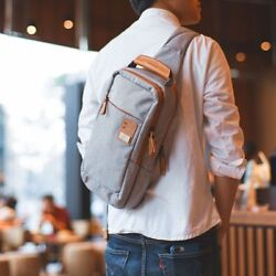 Men Cross Body Bags Leather Small Cell Phone Canvas Strap Shoulder Chest Pack $49.39