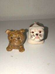 Lot of 2 Vintage Small Ceramic Bulldog Figurines 1960'S