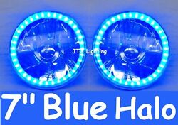 1pr Jtx Blue Led Halo 7 Round Headlights Suit Land Rover Series 1 2 2a 3