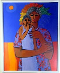 Legendary Dominican Candido Bido Famous Oil Acrylic Painting All Original Canvas