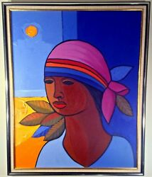 Incredibly Rare All Original Candido Bido Famous Dominican Legend Oil Painting