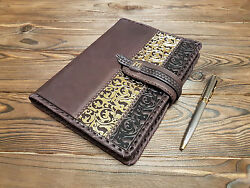Fine Genuine Leather Cover Notebook Yearly Calendar Brown Embossed Blank Book A5