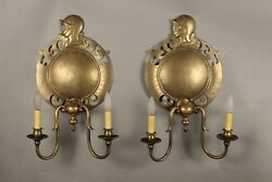 Tudor Game Of Throne Spanish Revival1920 Pair Brass Sconces With Knights 11485