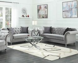 Modern Luxe Glam Living Room 2-piece Sofa Set Couch And Loveseat Silver Velvet