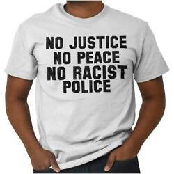 Justice Peace Police Black Lives Matter BLM Short Sleeve T-Shirt Tees Tshirts