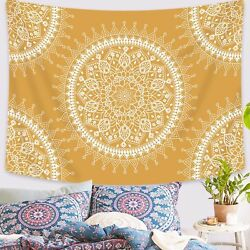 USA Art Yellow Mandala Tapestry Wall Hangings Tapestry Bedspread Room Home Decor