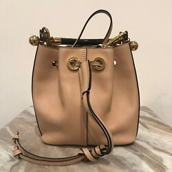 CHLOE Gala Tan Beige VE Black Gold Strap Shoulder Crossbody Bucket Bag Purse