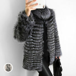 Women Luxury Genuine Natural Silver Fox Fur Coat With Fur Collar Winter Jacket