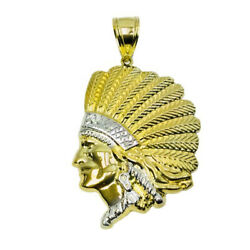 14k Gold Fancy Hollow Native American Chief Authentic Two-tone Pendant
