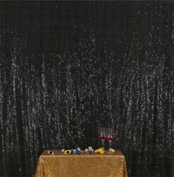 Black Shimmer Sequin Fabric Photography Backdrop Curtain Parties Wedding Decor