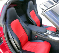 CHEVY CORVETTE C6 2005 2013 BLACK RED S.LEATHER CUSTOM MADE FRONT SEAT COVERS $149.00