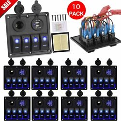 10PCS 4 Gang Rocker Switch Panel Dual USB for RV Boats CarsTruckMotor Blue BE