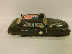 Vintage Wind-up Tin Litho Military Staff Car Army Wwii