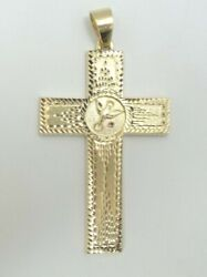14k Yellow Gold Large 3 In Religious Diamond Cut Cross Ruby Dove Pendant D3902