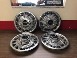 1978-80 Lincoln Versailles Wire Wheel Hubcaps Set Of 4 Nice 1118