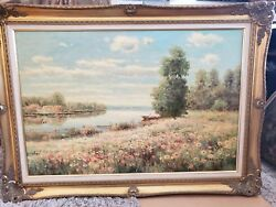 Gorgeous Original Oil Painting On Canvas By S. Razin Very Monet Like