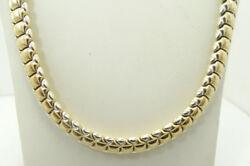 14k Yellow And White Gold Heavy Smooth And Matte Brushed Necklace 17 30.3g D3183
