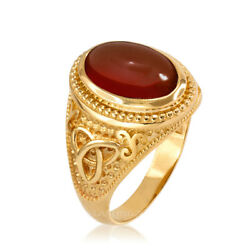 10k Yellow Gold Celtic Triquetra Red Onyx Statement Ring