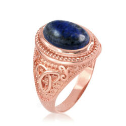 10K Rose Gold Celtic Triquetra Lapis Gemstone Statement Ring