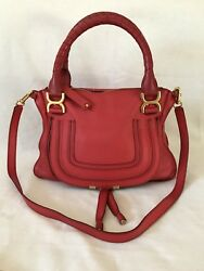 CHLOE 'MARCIE MEDIUM' Satchel Crossbody Shoulder Bag Plaid Red