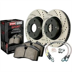 StopTech 979-44013F Sport Brake Kit Drilled Front Incl. Rotors Pads And Stainles