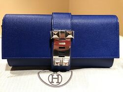 Hermes Medor 23 Clutch Bleu Electrique Chevre Mysore blue electric new bag purse