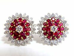 6.26ct Natural Vivid Red Ruby Diamond Domed Cluster Clip Earrings 18kt.+