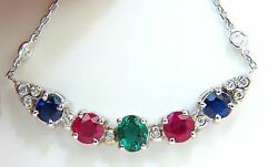 3.60ct Natural Ruby Emerald Sapphire Diamonds Necklace F/vs Arch And By Yard+