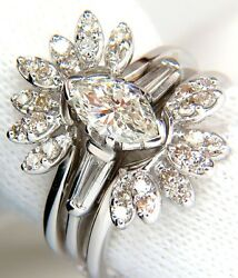 1.40ct. Marquise And Rounds Diamond Ring And Insert Platinum Vs+