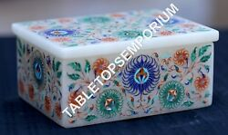 4x3x2 Traditional Marble Jewelry Box Multi Mosaic Inlaid Gift Decor H1955