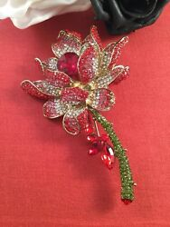 Vintage Jewellery Brooch Pin Red Rose Flower For Coat Hat Dress Crystal Jewelry