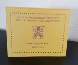 Vatican Brilliant Uncirculated 8 Coins Annual Coin Set 2009 In Blister