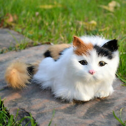 Home Decoration Realistic Calico Cat Figurine Small Furry Kitten Toy Photo Props