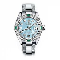 Rolex Emerald and Diamond 26mm Datejust SS Baby Blue MOP Mother Of Pearl Dial Wa