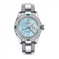 Rolex Emerald and Diamond 26mm Datejust SS Baby Blue MOP Mother Of Pearl Roman N