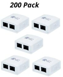 200x 2 port 8P8C RJ45 Cat5e Network Cable Wall Surface Mount Box Adhesive