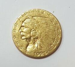1925 D US American Indian Head Quarter Gold Eagle $2.5 Collector Coin