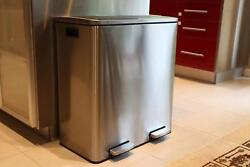 Extra Large Step Trash Can Recycler Combo, Stainless Steel, Slow Close, 30 L 16G