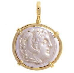 Ancient Greek Coin Alexander The Great Silver Tetradrachm In 18kt Gold Pendant