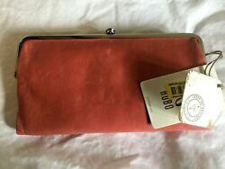 NWT Coral HOBO INTERNATIONAL Lauren Leather Double Frame Clutch Wallet Purse