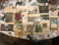 Lot Of 30 Antique Post Cards Early 1900's Postmarks Some With 1 Cent Stamps.