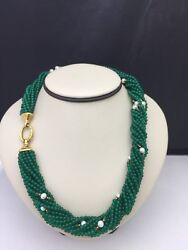 Estate Vintage Pearl Choker Necklace With Green Agate 18k Gold And Pearl