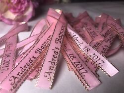 200 Personalized Ribbons Favor Baby Shower Bridal Wedding Baptism Birthday Pink.