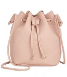 Macy#x27;s Pink Bucket Shoulder Crossbody Hand Bag Faux Pebbled Leather $13.00
