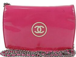CHANEL Makeup Chain Shoulder Bag Chain wallet pink 100% Auth From JAPAN